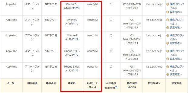 OCNモバイルONEで使えるiphone一覧3